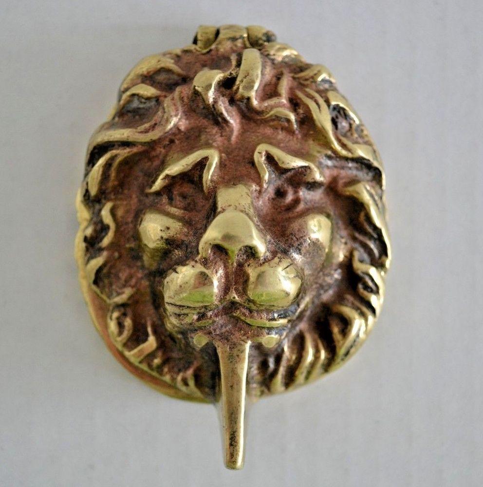 Vintage Solid Brass Lion Head Door Knocker 3