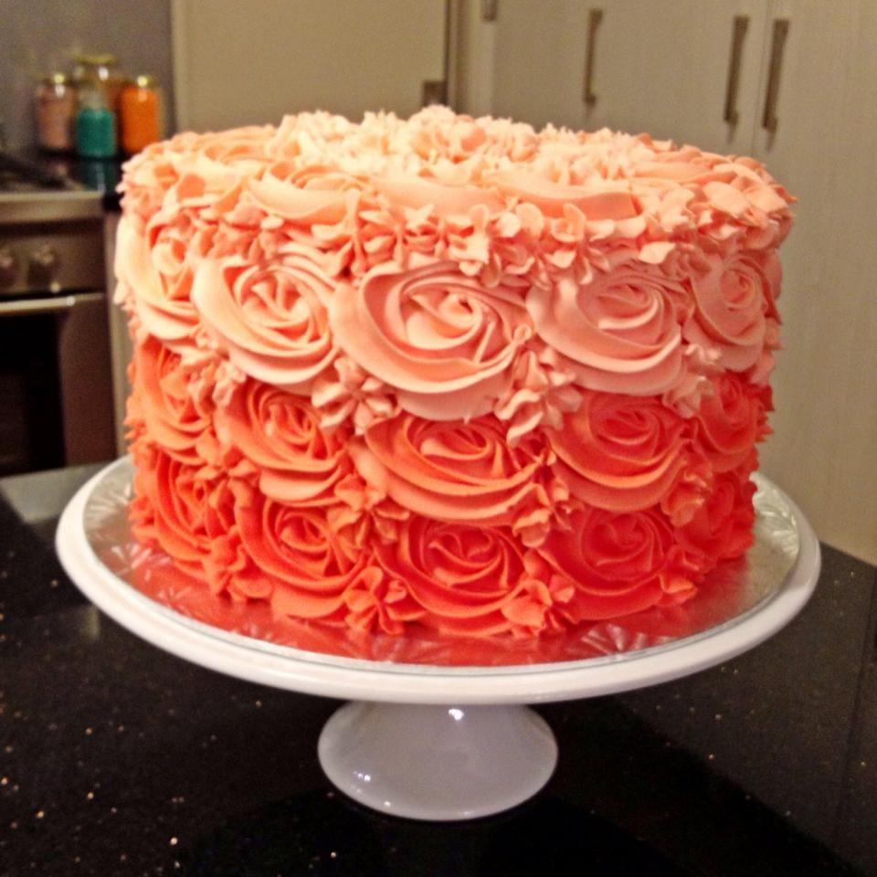 Peach Ombre Rosette Cake | Adlee\'s 1st B-Day | Pinterest