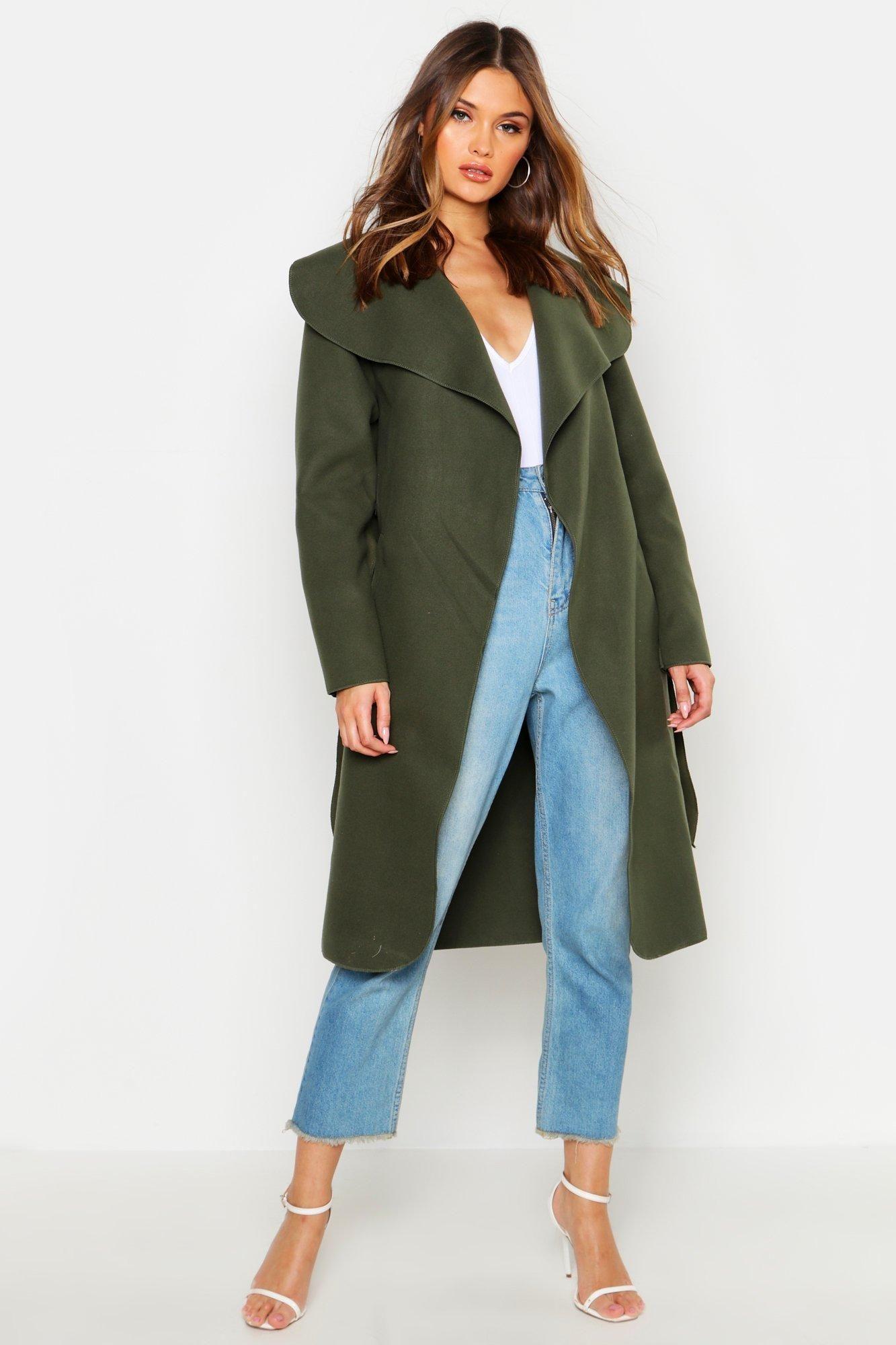 Belted Shawl Collar Coat Boohoo Shawl Collar Coat Collared Coat Coat [ 2000 x 1333 Pixel ]