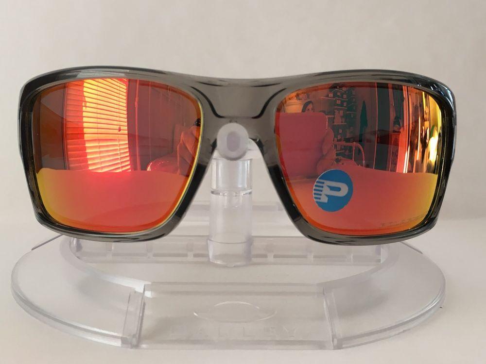 c352b80a81 New OAKLEY Men s TURBINE GRAY INK RUBY IRIDIUM POLORIZED Sunglasses OO9263- 10  fashion