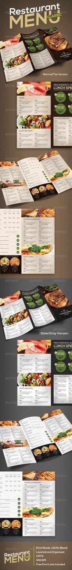 Restaurant Menu (Classic) Template #design #speisekarte Download ...