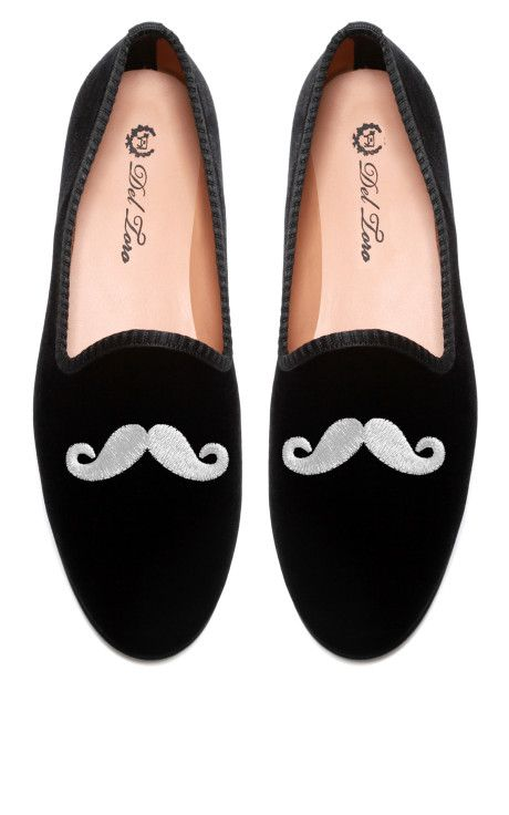 7eb537beb7e99 Prince Albert Black Velvet Slipper Loafers With Mustache Embroidery by Del  Toro