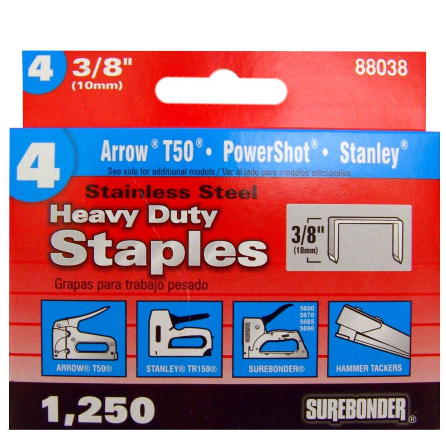 Surebonder 88038 T50 Type Stainless Steel Number 4 Number 55038 Heavy Duty Staple 3 8 Inch Length You Can Find More D Stainless Stainless Steel Heavy Duty