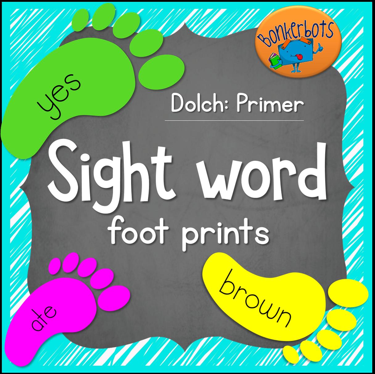 Sight Word Foot Prints Primer