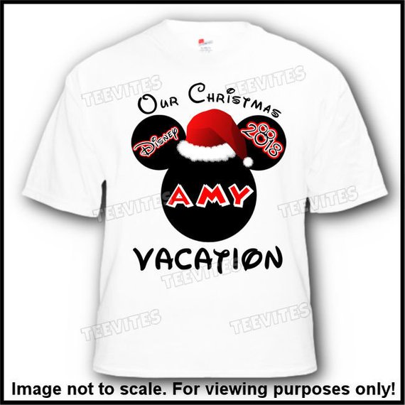 b1311920 4 Pack Christmas Family Disney Mickey Mouse Minnie Mouse Santa Hat Vacation  T-Shirts