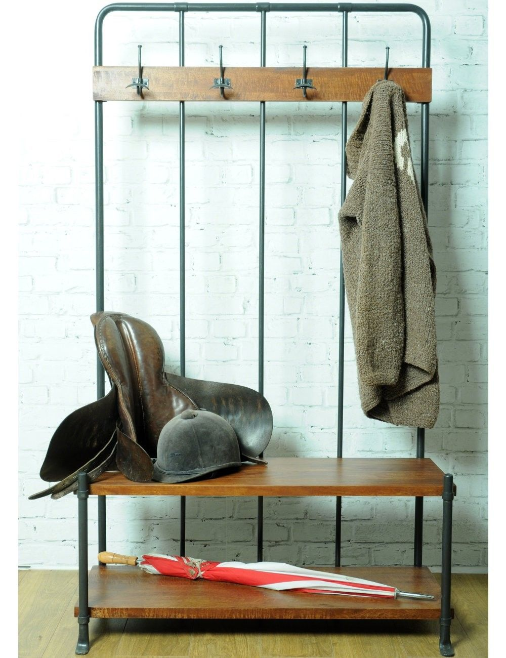 Reclaimed Hall Bench Coat Rack At Rose Grey You Could Make A Version Of This Using Copper Plumbing Ings Also
