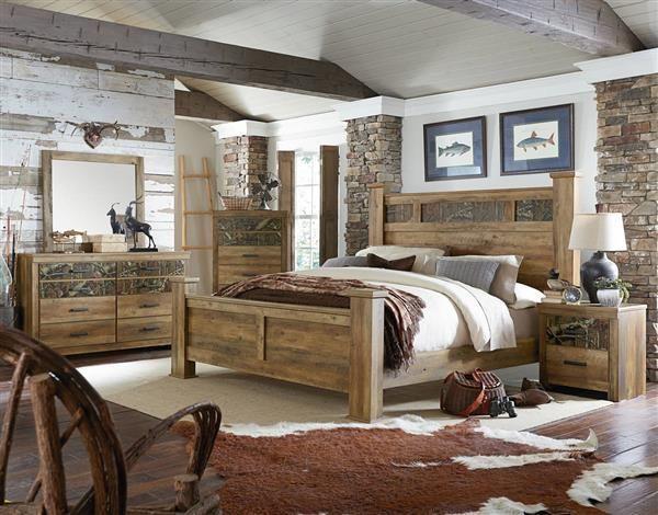 Habitat Mossy Oak Wood 5pc Bedroom Set W Queen Poster Bed