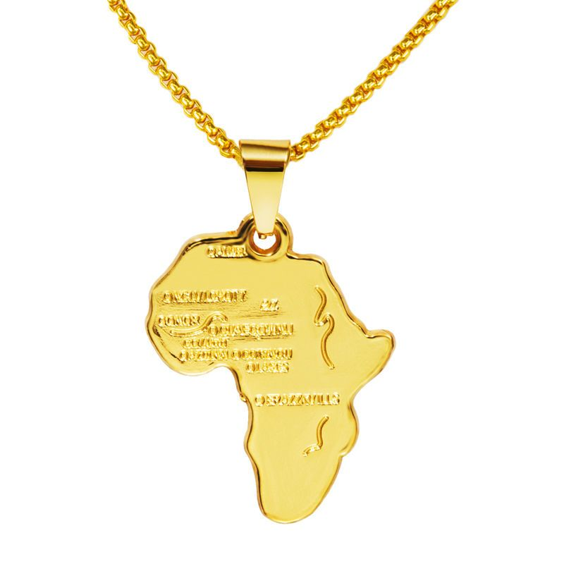 New Fashion Africa Pendant 2016 New 18K Real Gold Plated Unisex Women Men  Fashion African Map Pendant Necklace Hip Hop Jewelry 9b915fcccc