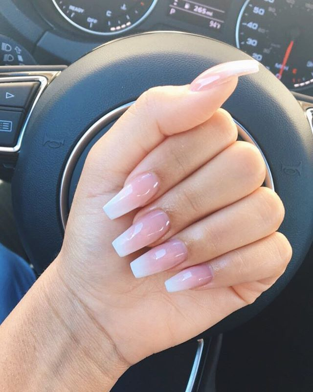 Pink To White Ombre With Acrylic Acrylic Nails Coffin Pink Pink Ombre Nails Pink Nails