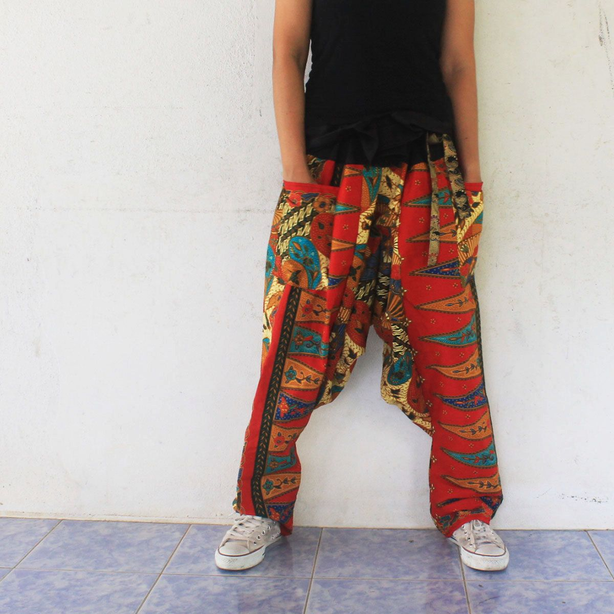 Thai Batik Sarong Hand Made Wrap Harem Pants ,Thai Batik