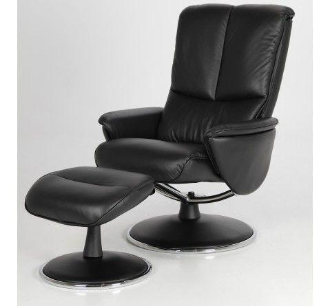 Fauteuil relaxation design cuir noir Volta