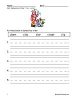 Alphabetical Order Worksheet - To The Third Letter