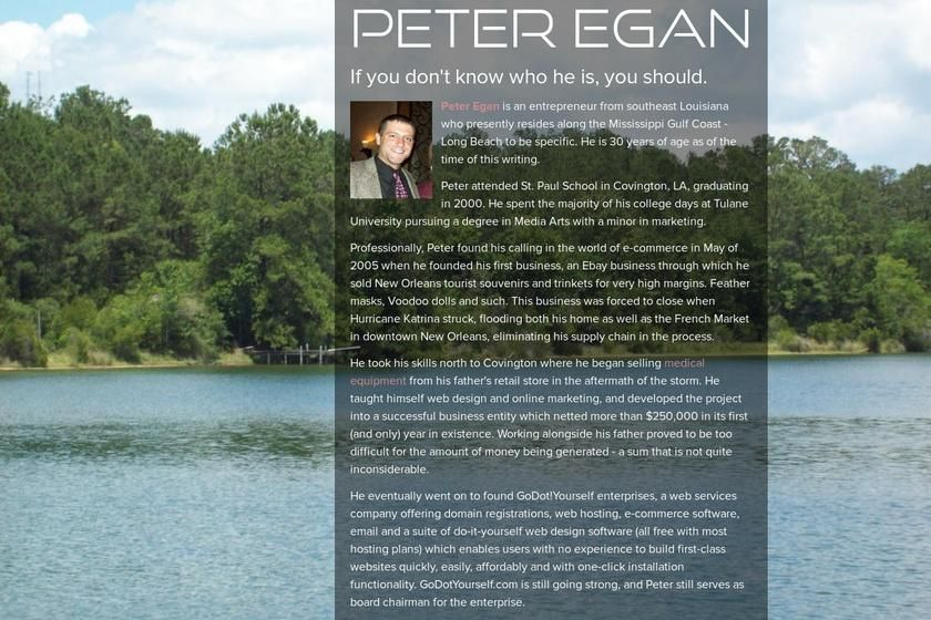 Peter Egan's page on about-dot-me – http://about.me/peter_egan