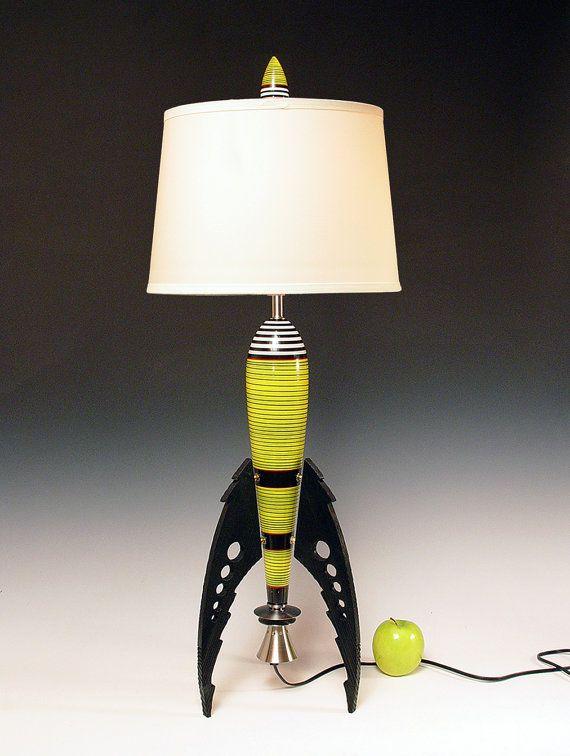 Table Lamp  Atomic retro rocket lamp  Yellow  50s  Steam
