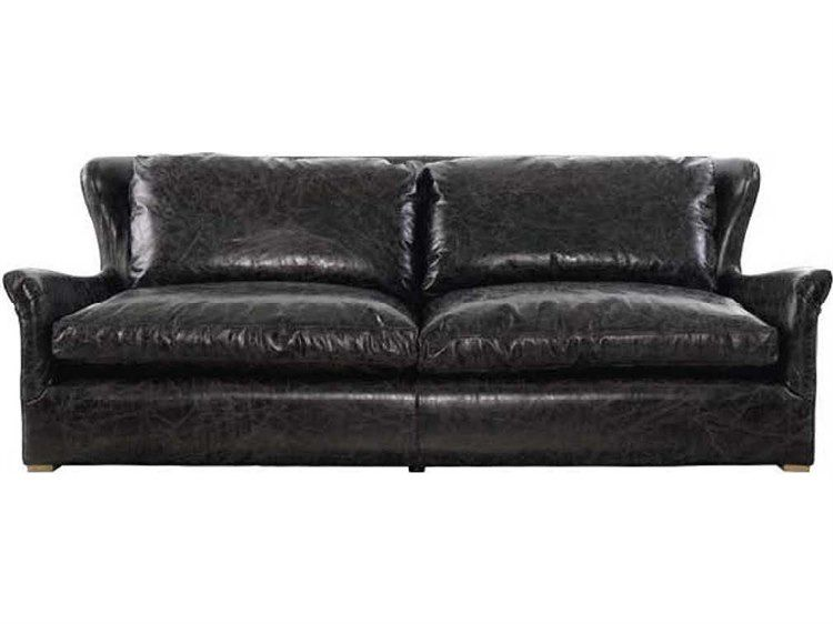 Curations Limited Winslow Weathered Natural Ash Slate Leather Grey Wool Polyester Sofa Cld78423106