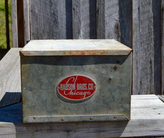 Babson Bros. Co. Galvanized Metal Box Lidded Dairy Storage Container Vintage Industrial Advertising Chicago Boxes & Bins