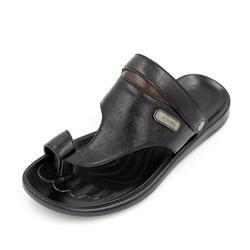 Leather Toe Loop Sandal Black