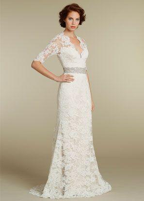 Long Sleeved Lace Wedding Dress Jim Hjelm