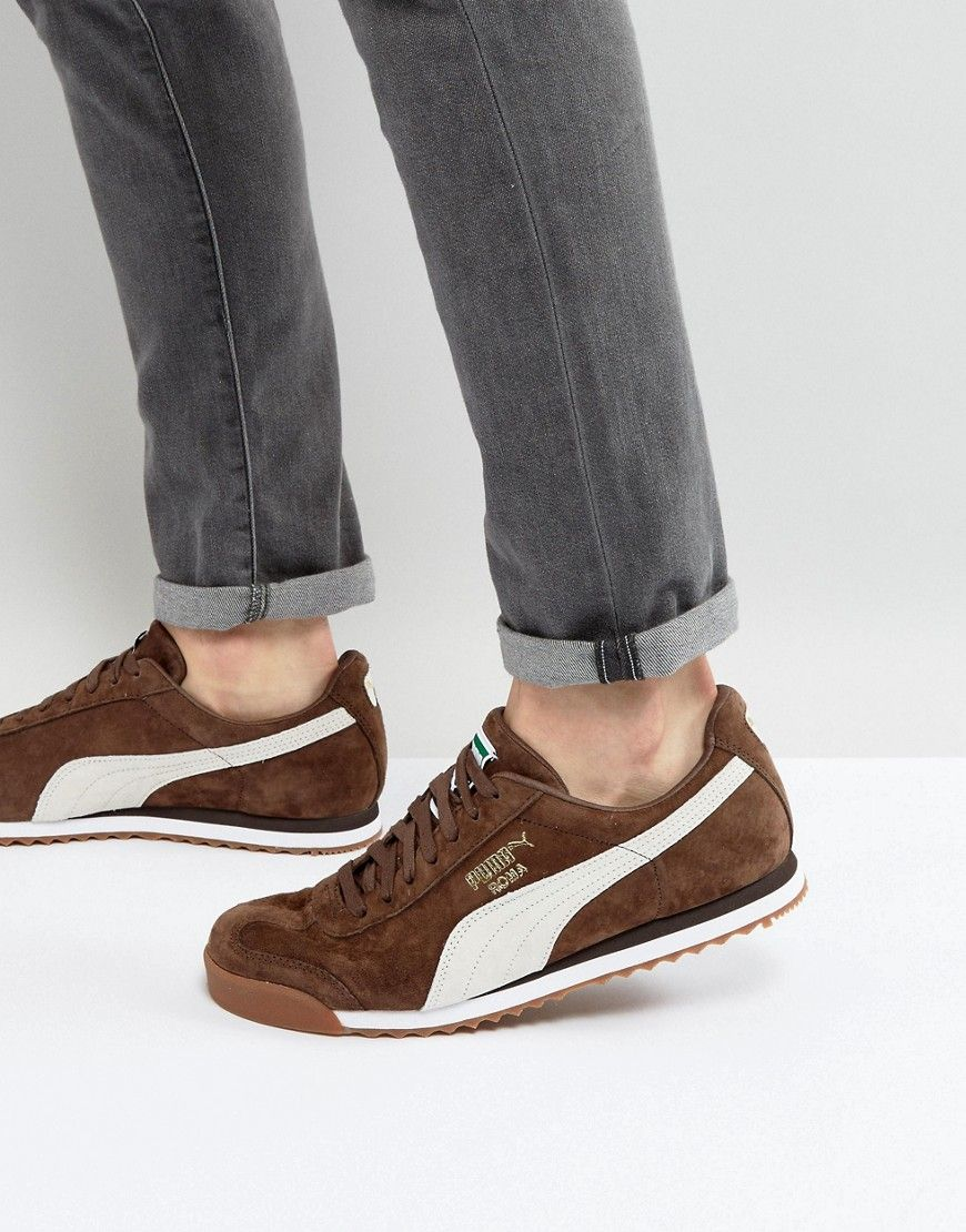 brown puma trainers
