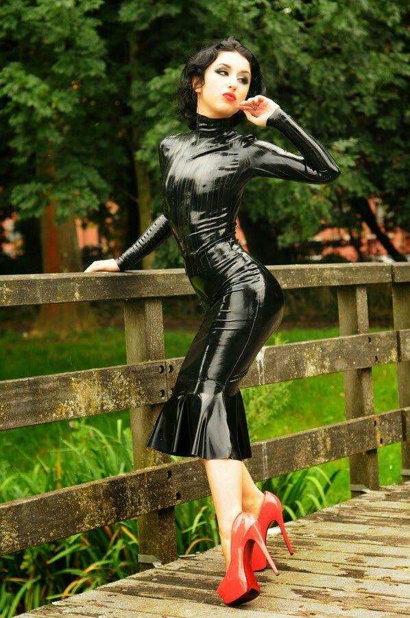 Black latex dress pink heels Black latex