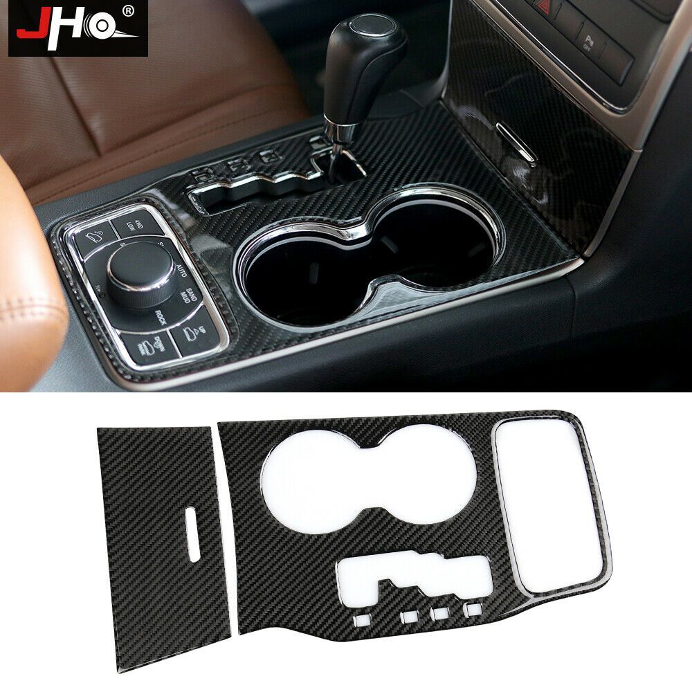 Carbon Fiber Rear Seat Water Cup Holder Panel Cover Trim For Jeep Grand Cherokee