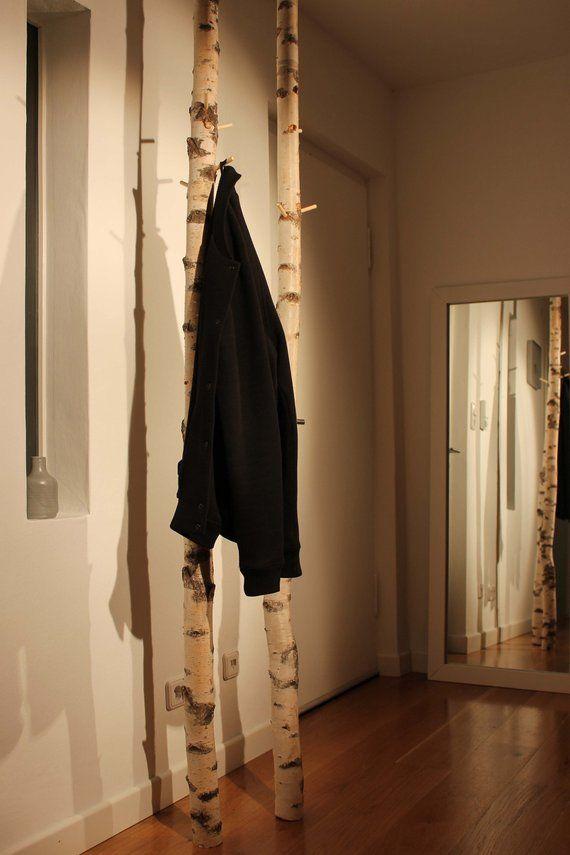 Design Garderobe Aus 1 Birkenstamm Garderobe Baum Garderobe