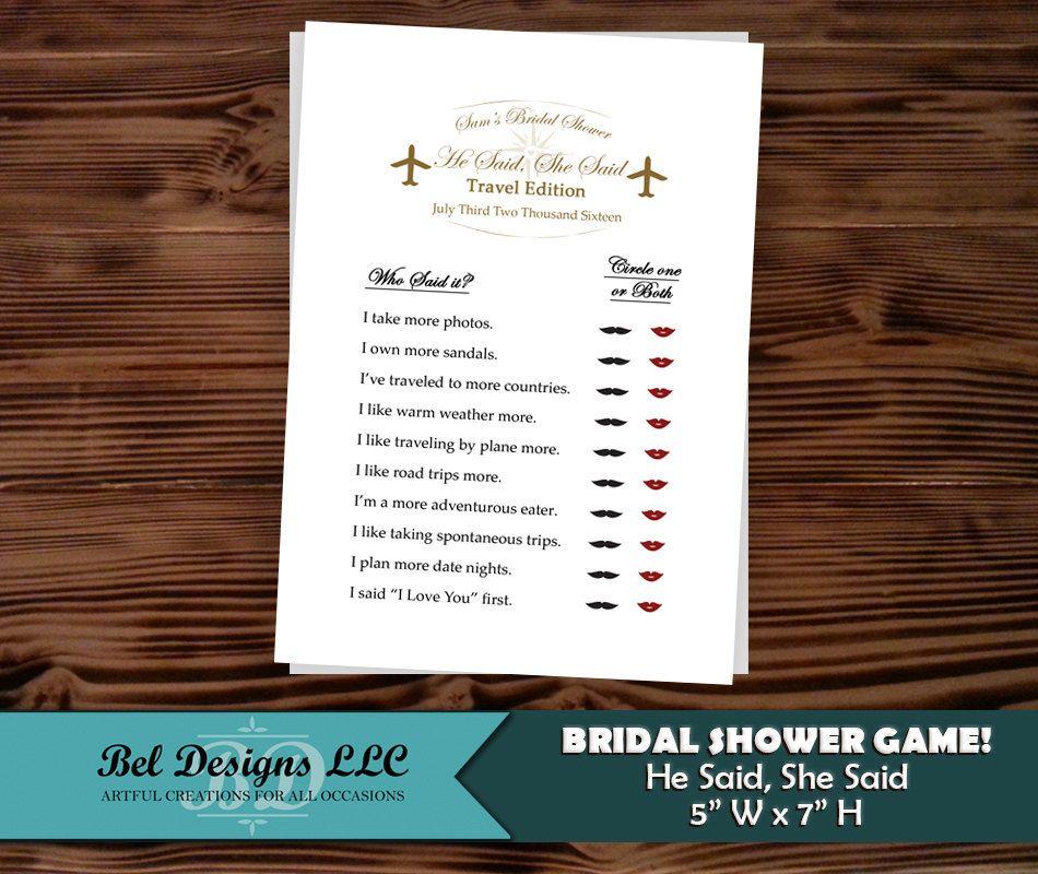 Travel Themed Bridal Shower Game Engagement