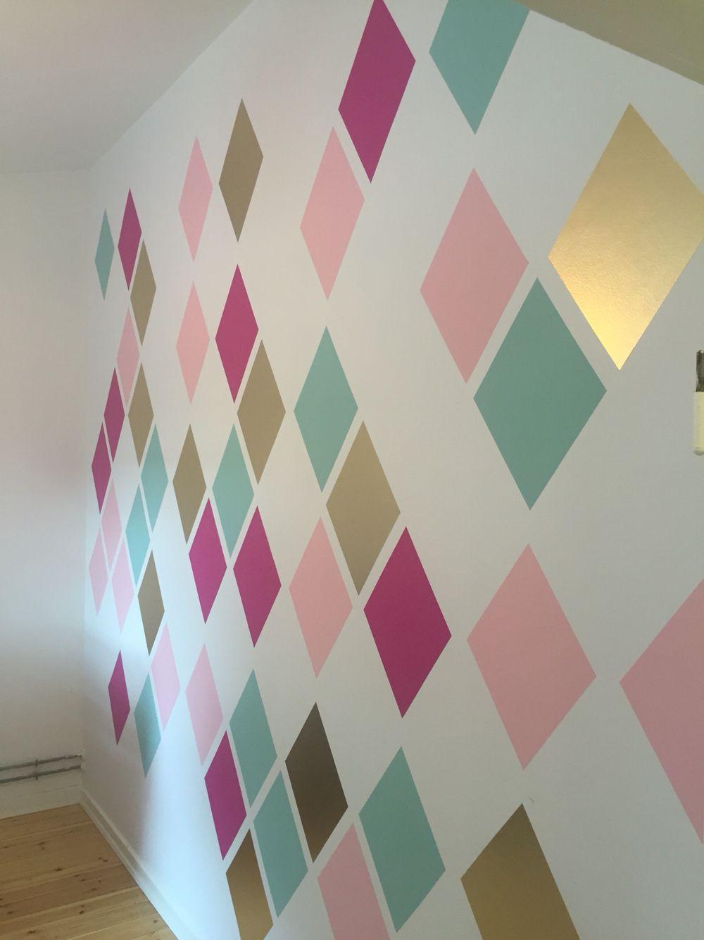 Harleqin Triangle Multicolor Wall Girls Room Paint Bedroom Wall Paint Kids Bedroom Paint