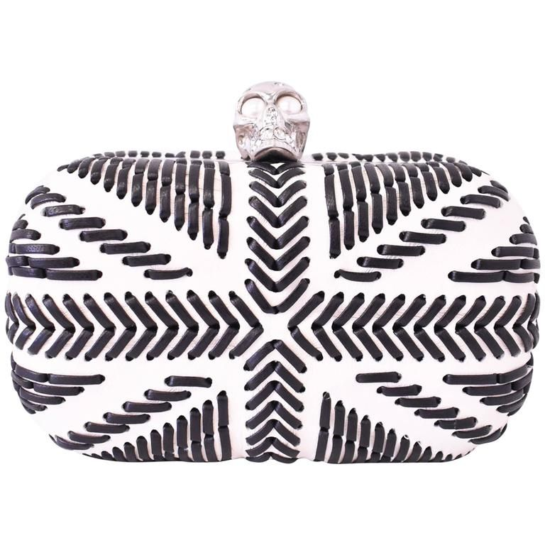 Alexander McQueen White Leather with Whipstitched Union Jack Skull Box Clutch