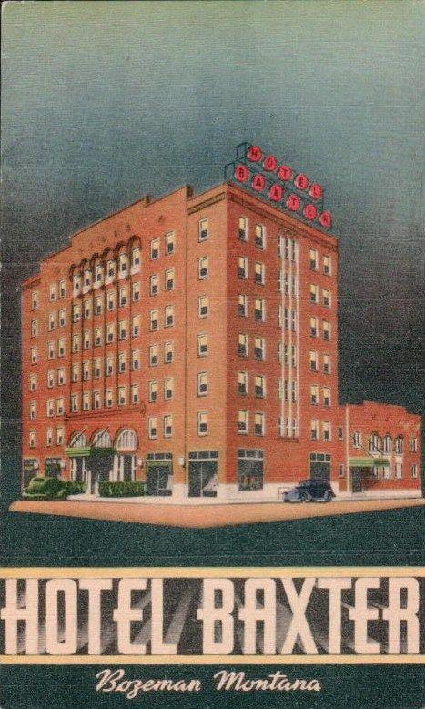 Bozeman Mt Montana Hotel Baxter Vintage Postcard