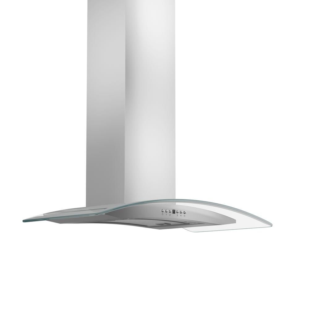 Zline Kitchen And Bath 48 In Wall Mount Range Hood In Stainless Steel And Glass Silver Wall Mount Range Hood Kitchen Bath Stainless Steel Cleaner