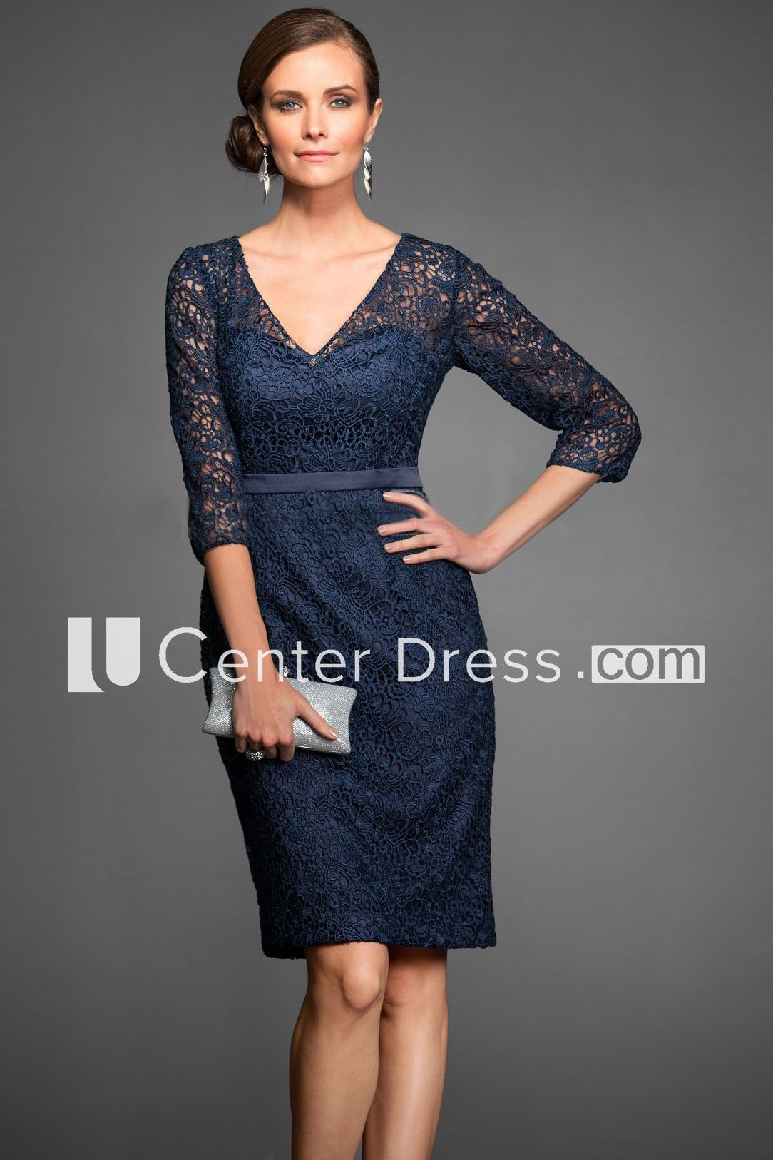 3 4 Sleeved V Neck Knee Length Lace Sheath Mother Of The Bride Dress With Illusion Detail Ucenter Dress Wedding Attire Guest Guest Attire Short Lace Dress [ 1626 x 1084 Pixel ]