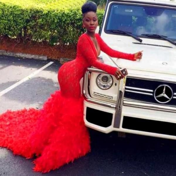 Sexy Deep V Neck South Africa Prom Dresses 2K16 Red Lace Long ...