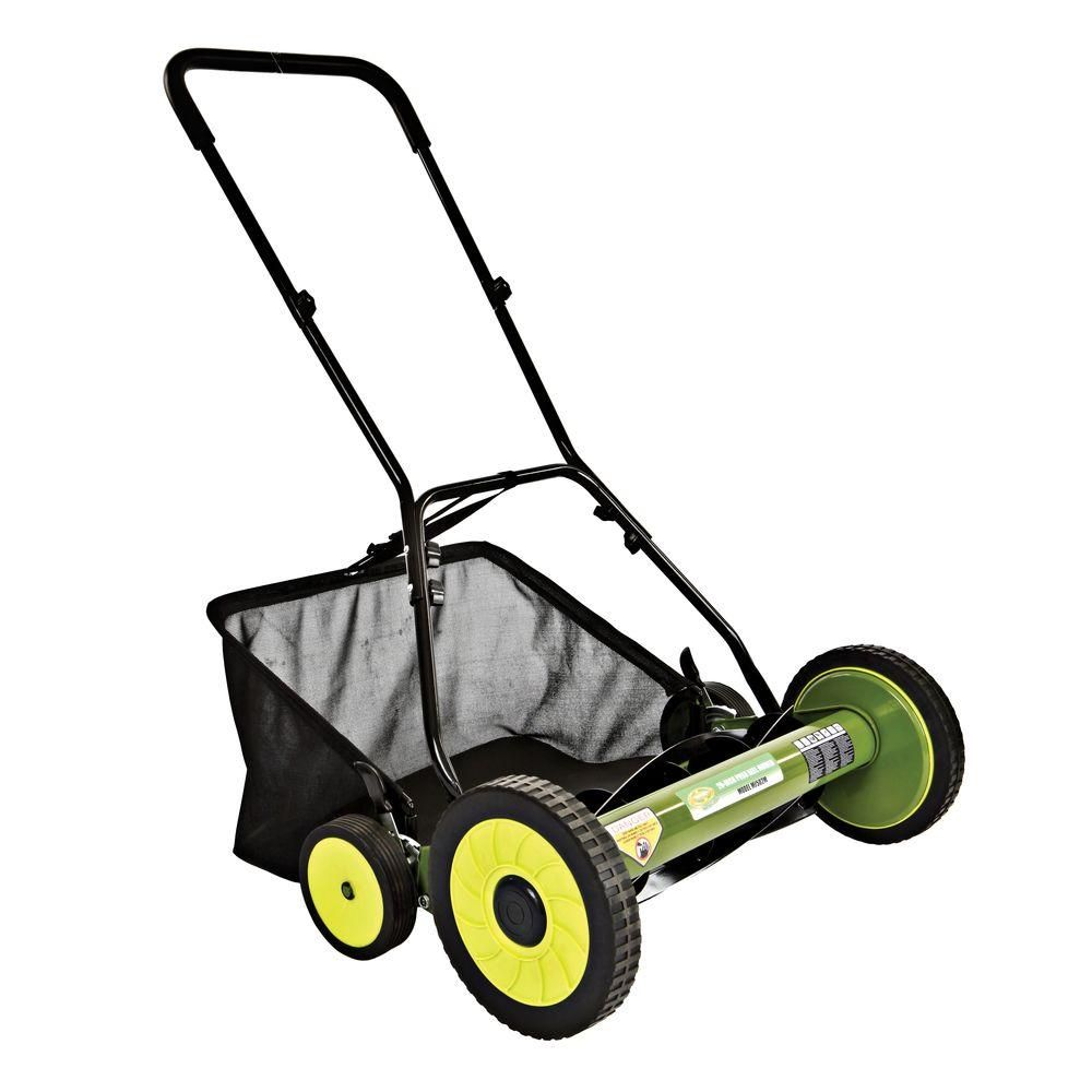 Sun Joe 20 In Manual Push Walk Behind Reel Mower With Catcher Mj502m Reel Lawn Mower Push Lawn Mower Lawn Mower