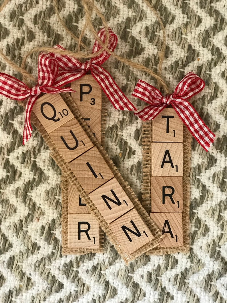 Custom Scrabble Name Ornament, Scrabble Ornament, Wedding Favors, Name Ornament, Creative Christmas Gift, Thoughtful Ornament, Scrabble Gift