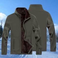 Mens Zipper Solid Color Plus Thick Fleece Coat Sweatshirt