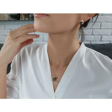 Boucles oreilles perles – Rosée du soir tahitienne – Or jaune, diamants
