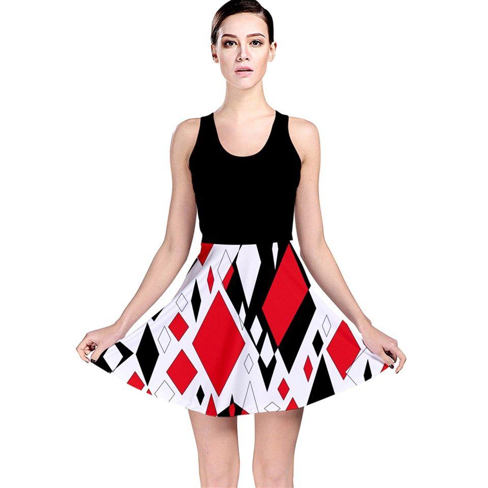 Distorted diamonds in black u red reversible skater dress fashion