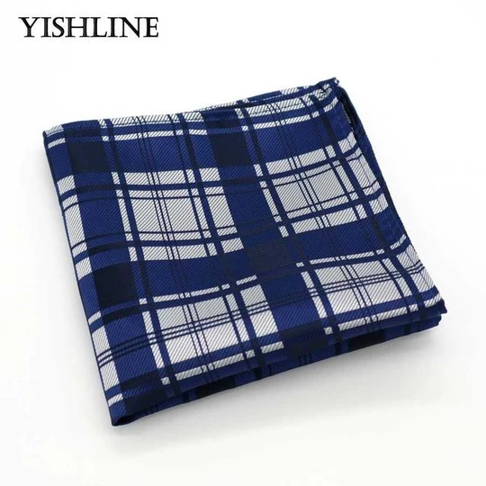 New 100/% Silk Blue White Checked Handkerchief Pocket Square Hankie Wedding Gift