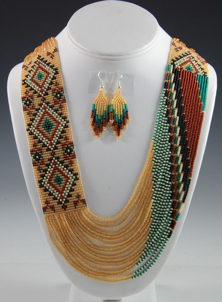Navajo beaded necklace navajo necklace rena charles for How to make american indian jewelry