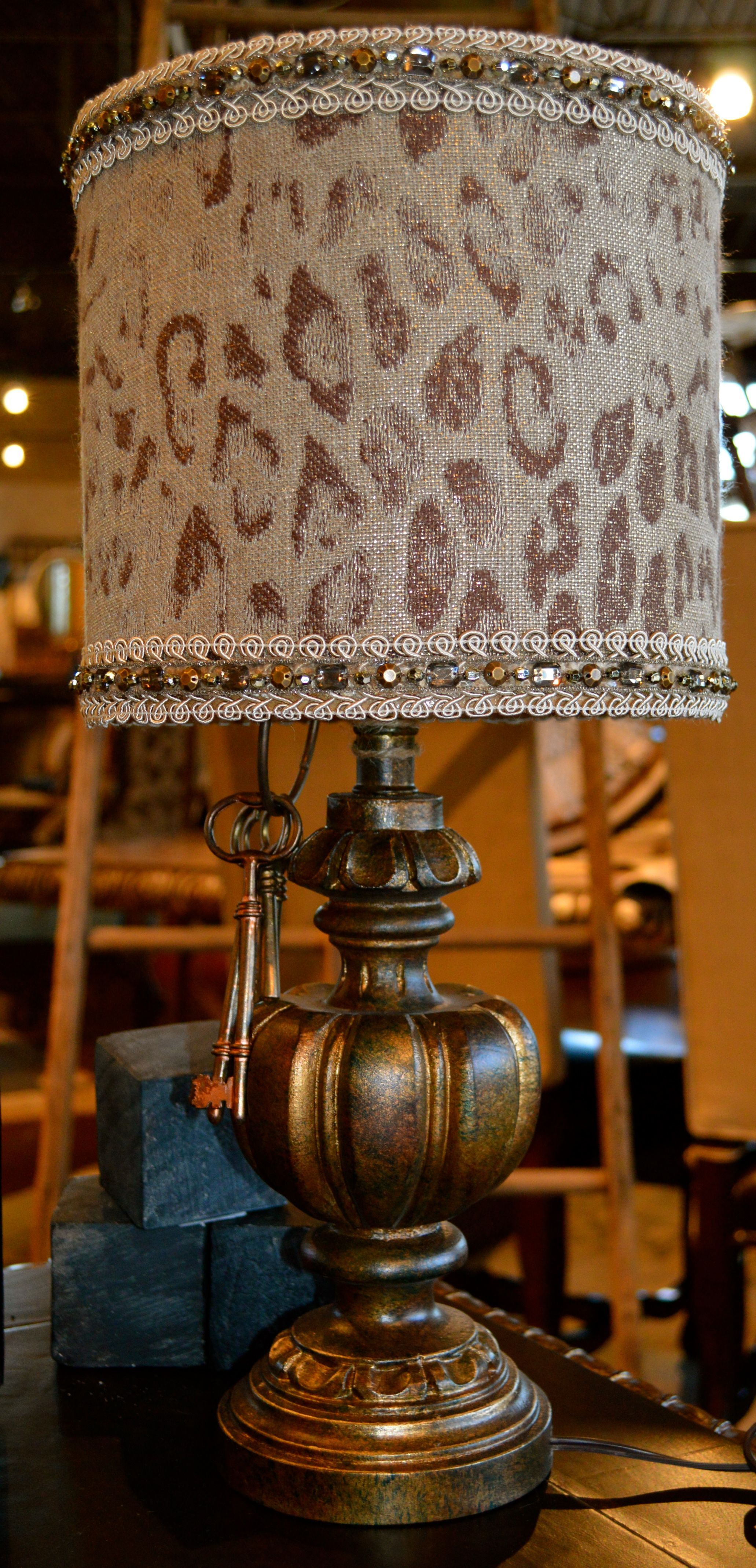 Exotic cheetah print always goes with everything bejeweled animal exotic cheetah print always goes with everything bejeweled animal print lamp shade on a bronze base for night stand or desk aloadofball Images