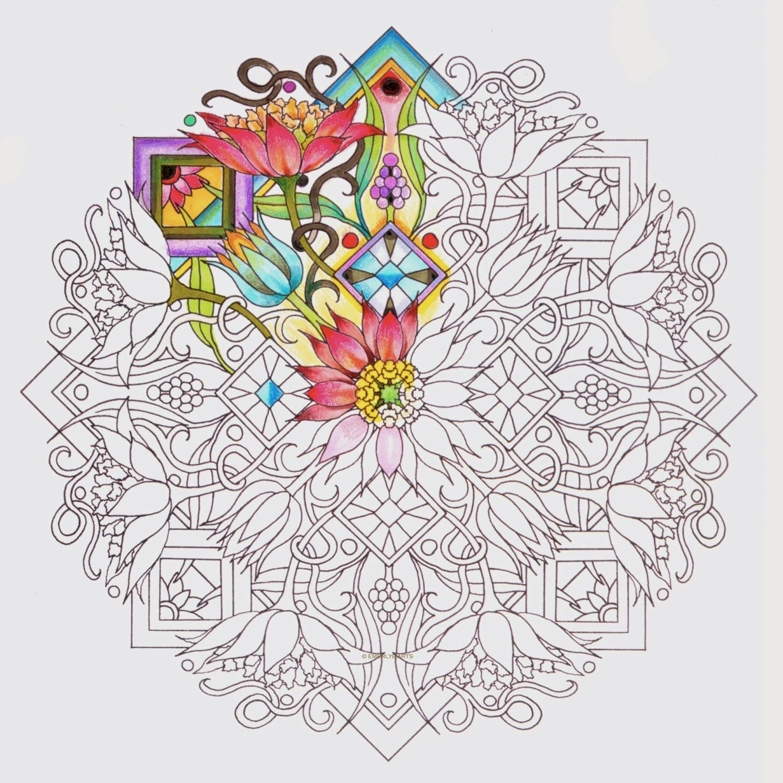 Partially Colored Mandala Design From One Of Cynthia Emerlye S Upcoming Books Mandala Coloring Mandala Design Mandala Book