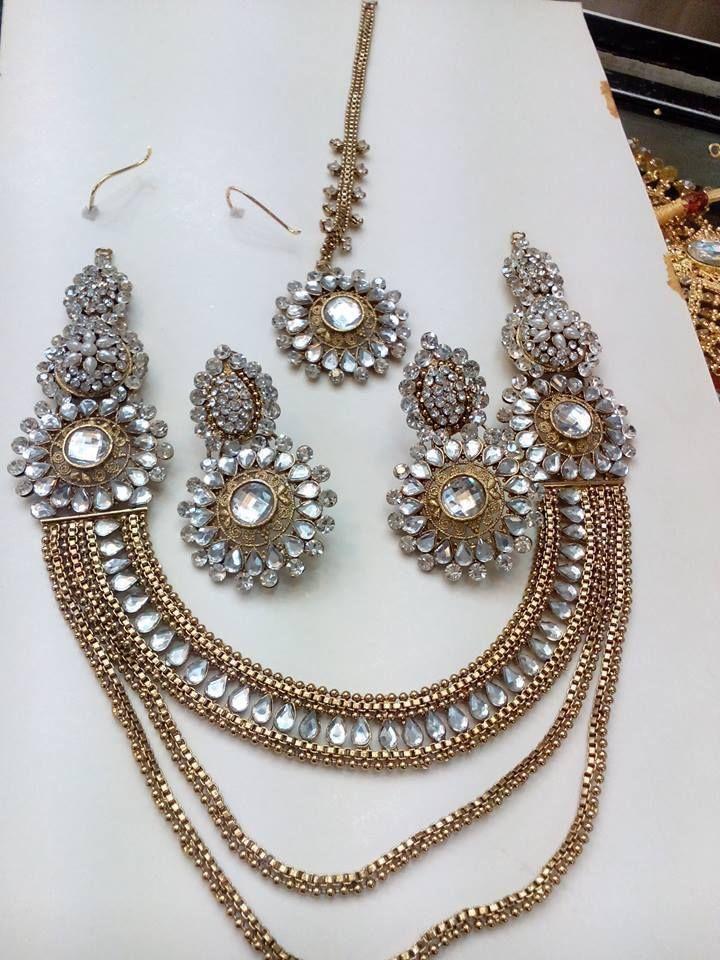 Pakistani Indian Bollywood Polki Pearl Kundan CZ AD Necklace Earrings Teeka Set #HandmadeIsharyaRitaniAmritaSinghBeesZaveri