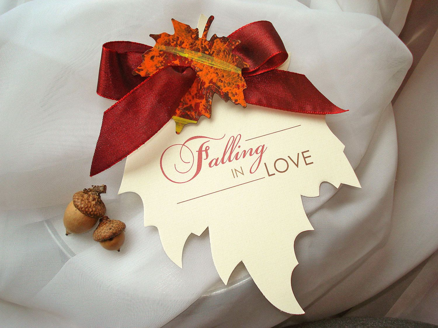 FALLING IN LOVE Autumn Fall Leaf Shape Wedding Save the Date Leaves ...