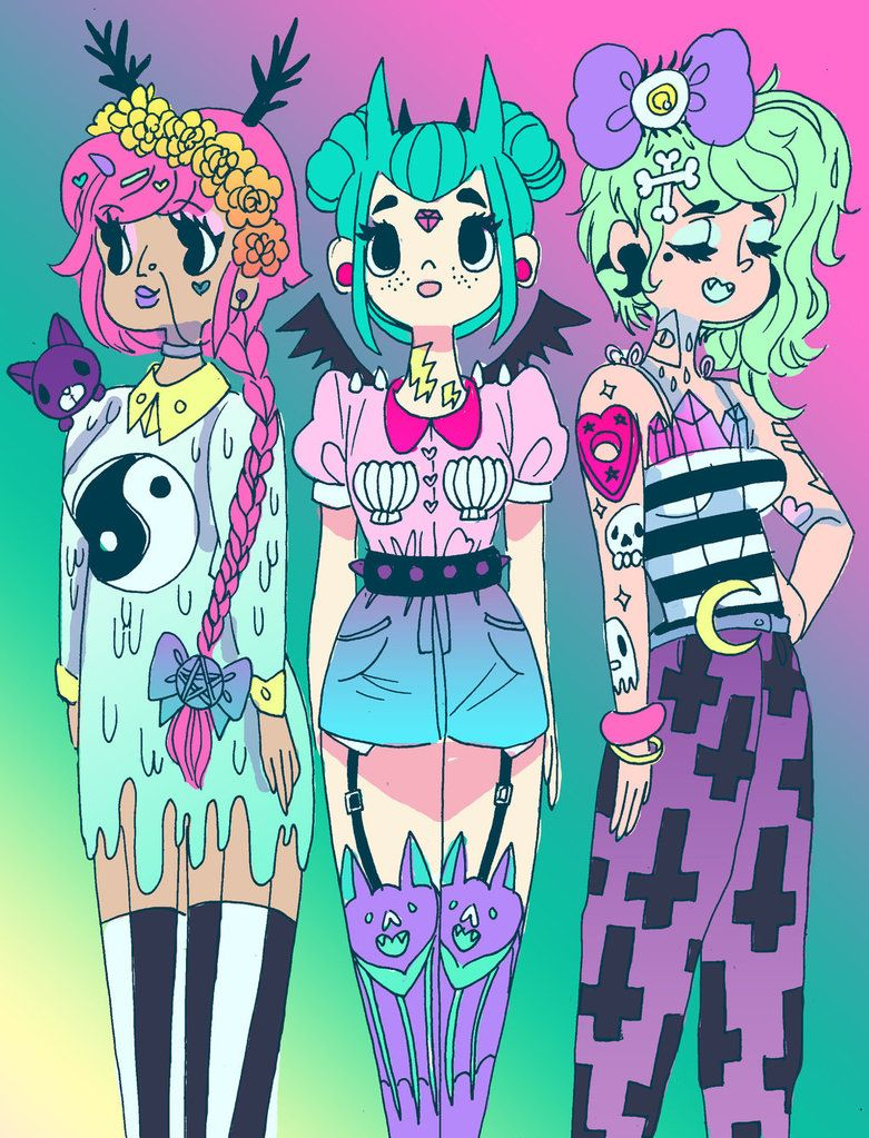 OC girls band of pastel goth cuties. From left to right their names are Mermaid, Midnight, and Moonlight