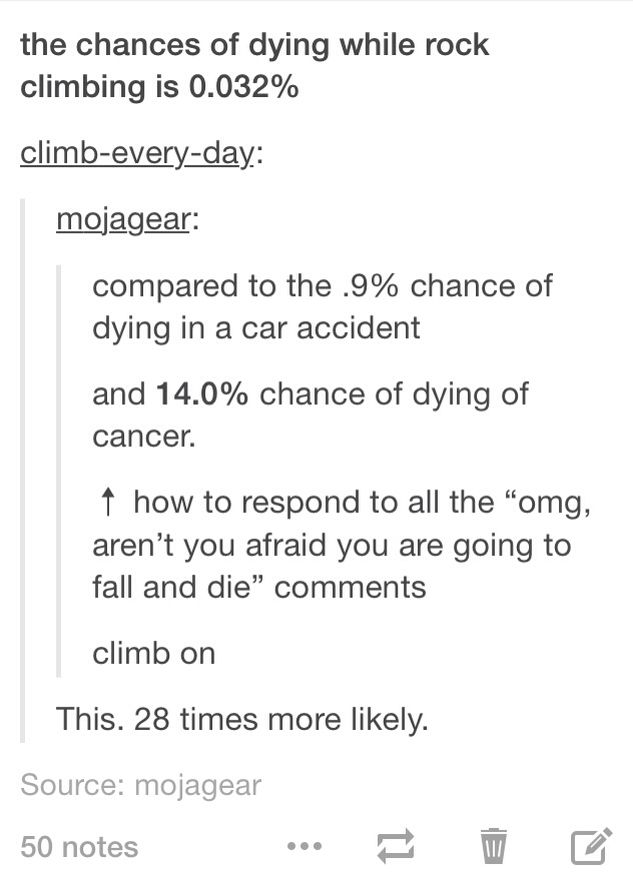 %of dying while climbing