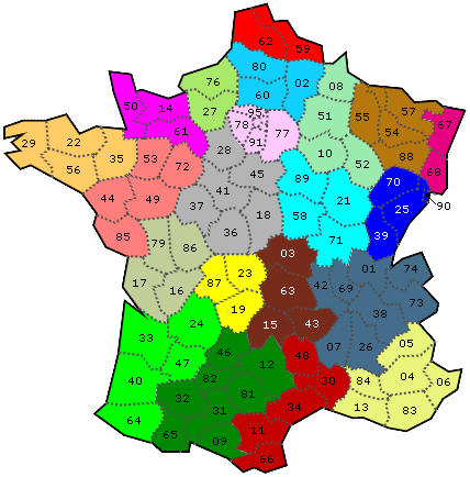 carte de france départements