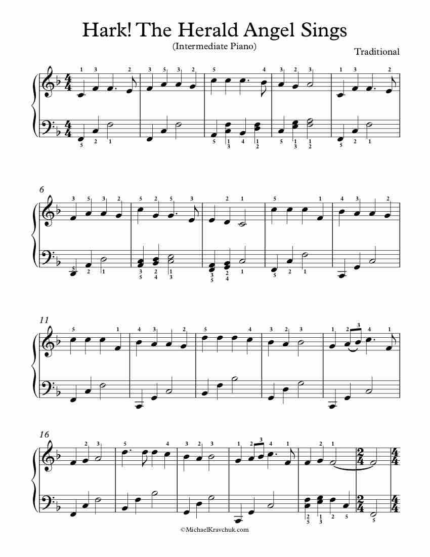 Intermediate Piano Arrangement For Hark The Herald Angel Sings