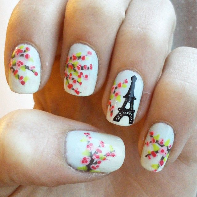 Paris Inspired Nails With Cherry Blossom and Eiffel Tower   UÑAS ...