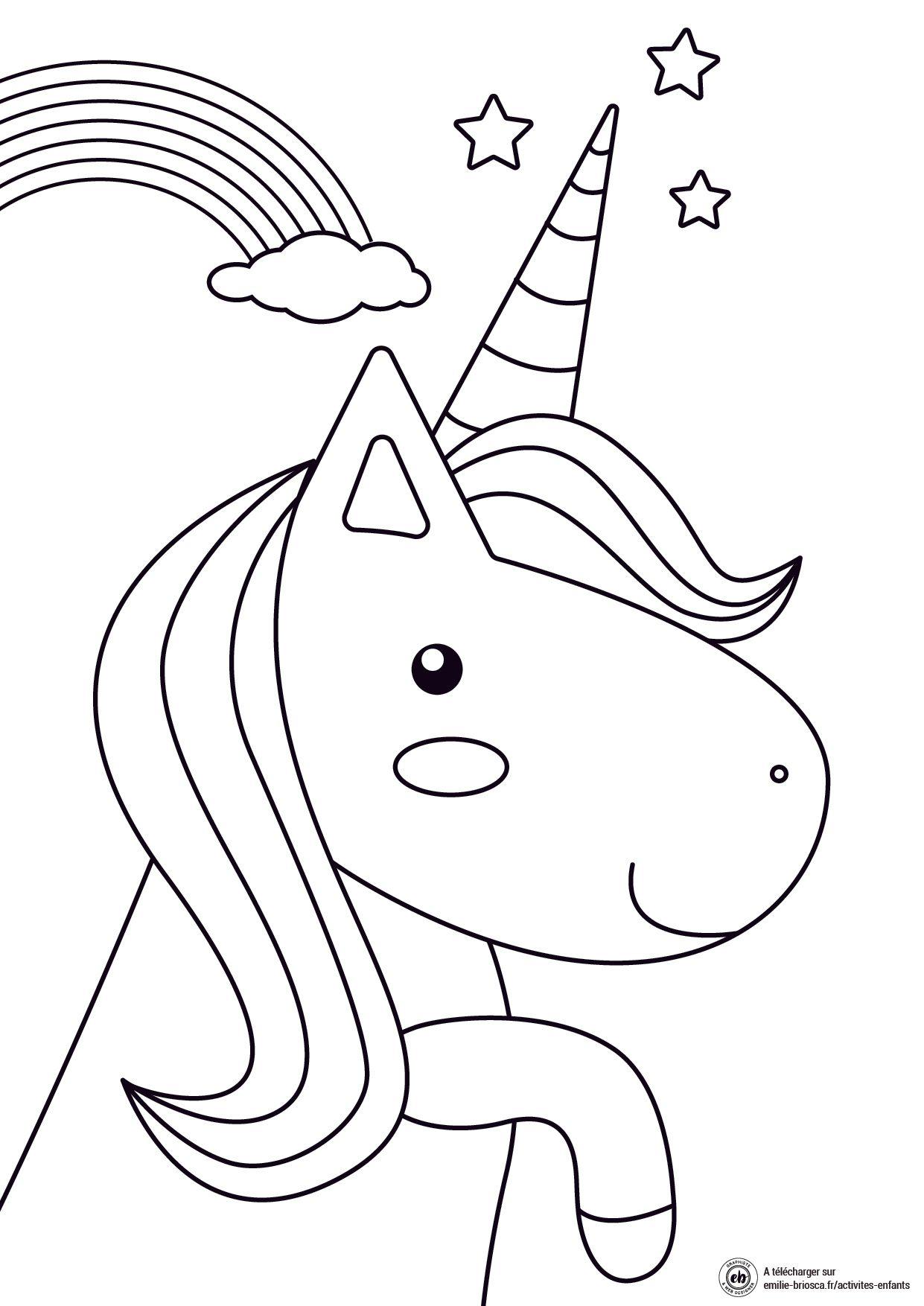 Coloriage pour enfant : licorne et arc en ciel en 2020 ...